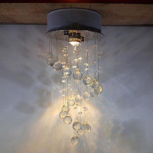 3W LED Kristall Pendelleuchte 1 flammig Hängeleuchte Hängelampe Deckenleuchte Kronleuchter für Flur Esszimmer Küche Modern Crystal Rund Spirale Design Edelstahl Lampe Durchmesser 20cm