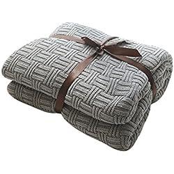MYLUNE HOME 100% Coton Couverture Tricot mérinos élégante de Luxe pour Regarder la télévision ou la Selle sur Chaise, canapé et lit,Double Face Couvertures (120x180cm,Gray)