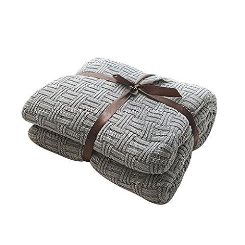MYLUNE HOME 100% Coton Couverture tricot mérinos élégante de luxe pour regarder la télévision ou la selle sur chaise, canapé et lit,Double face Couvertures (180*200cm, gray)