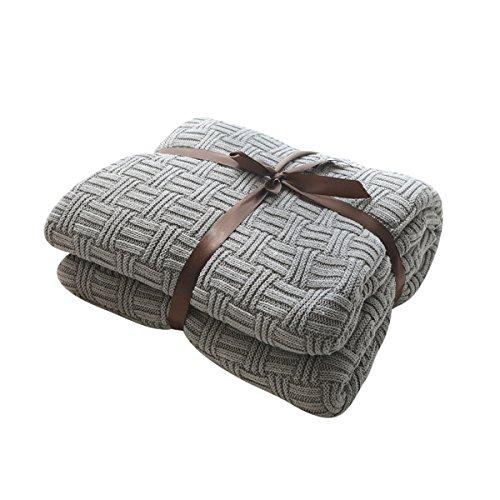 MYLUNE HOME 100% Baumwolle Luxus Stilvolle Strickdecke für Fernsehen oder Nap auf dem Stuhl, Sofa und Bet(180x200cm,Gray) -