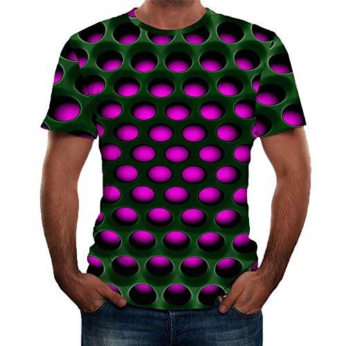 Herren Druck T-Shirt 3D Muster Shirt Kurze Ärmel Grafik Muskelshirt Spaß Motiv Tops Oversize Kurzarmshirt Sport Oberteile Print Unisex Basic Hemd Casual Sommer Lässige (L2, Rot) (Promotion T-shirts)