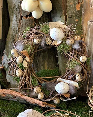Osterkranz Natur ca. 30 cm Ostergesteck mit großen Eiern Wachteleiern Federn Moos Obstzweigen Wurzelgeflecht
