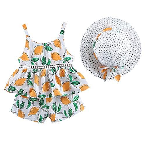 Liusdh Baby-Body für Kleinkinder, Babys, Mädchen, Blumenmotiv, Oberteil, Shorts, Outfits, Mütze, lässiges Set