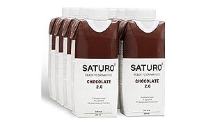 Sostitutivo del Pasto Saturo Cioccolato - Con il Giusto Apporto di Proteine, Fibre, Vitamine e Minerali, Senza Glutine & Senza Lattosio, 8 x 330 ml