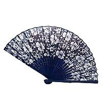 rycnet 21cm Summer Women Ethnic Retro Orchid Flower Pattern Bamboo Handhold Folding Fan