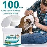 GHEART Ohren Reinigungspads für Hunde und Katzen 100 Stück - Ohrenpflege für Hund, Milde Ohren Reinigung, weiche Ohrenreinigungspads mit Aloe-Extrakt zum Entfernen von Ohrenschmutz und Wachs