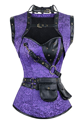 Charmian Women's Steampunk Goth Retro Spiral Steel Boned Jacket corsé with Belt Purple Large