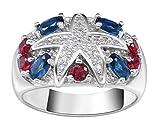 YiyiLai Platinum-Plated 925 Sterling Silver Damen Schmucks Verlobungsring Fingerring Bunt Zirkonia 9
