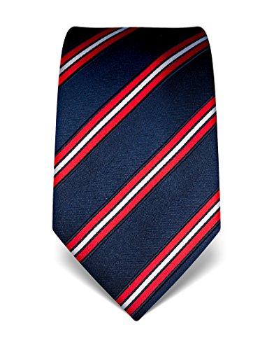Vincenzo Boretti Herren Krawatte reine Seide gestreift edel Männer-Design gebunden zum Hemd mit Anzug für Business Hochzeit 8 cm schmal/breit dunkelblau