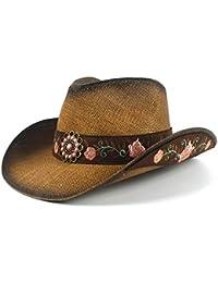 Gorros Sombrero De Panamá Moda para Mujer Hat Cowboy Paja Western Verano Acogedor Elegante Señora Jazz Sombrero De Paja Gorras