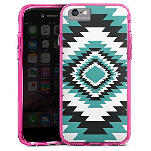 Apple iPhone 7 Bumper Hülle Bumper Case Glitzer Hülle Ethno Azteken Zick-Zack Bumper Case transparent pink