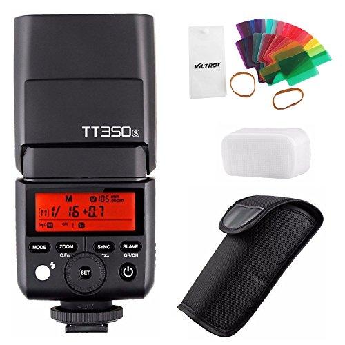 Godox Speedlite Blitzlicht, TT350S 2,4G, 1/8000s, HSS, TTL, GN36, mit 20-teiligem Farbfilter-Lichtzerstreuer, für die Kameras Sony A7 II, A7R II, A7S II, A6300, A6000