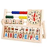 Elecenty Unisex Baby Lernspielzeug Abakus Holzspielzeug Pädagogische Holzspielzeug Um Perlen Spielzeug Perlen Form Spiel Spiele Uhr Brief Digital Spielzeug Kinderspielzeug (1pc, Mehrfarbig)
