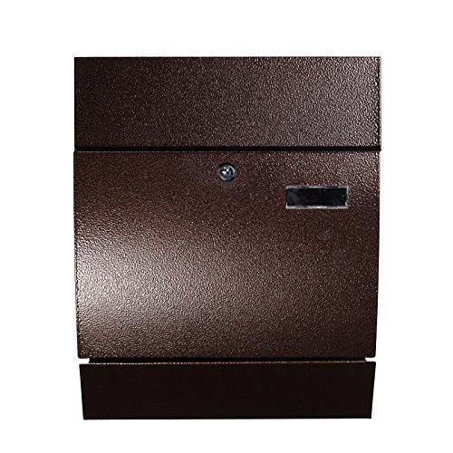 Design Briefkasten mit Zeitungsrohr Stahl 45 cm hoch in Braun HPB978-A, Wandbriefkasten mit Befestigungsmaterial