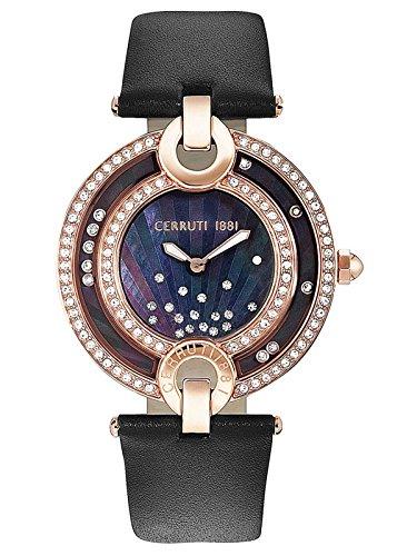 Cerruti Ladies Watch with Genuine Leather Strap CRM054SR30BK