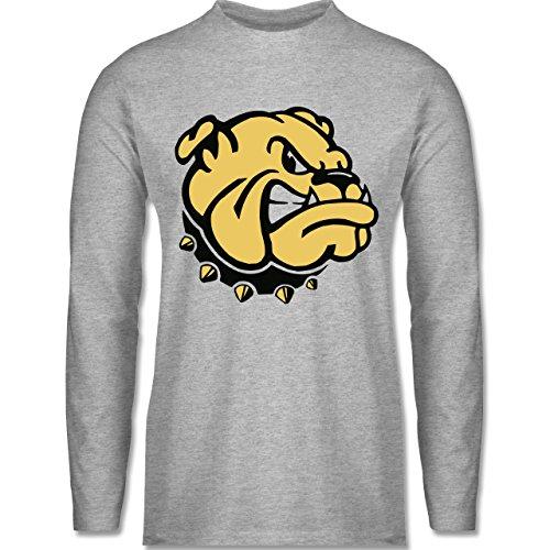 Hunde - Bulldogge - Longsleeve / langärmeliges T-Shirt für Herren Grau Meliert