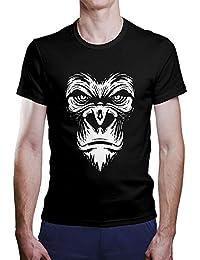 OKAPY Camiseta Simio. Una Camiseta de Hombre con La Cara de Un simio Camiseta Friki de Color Negra PYa3i