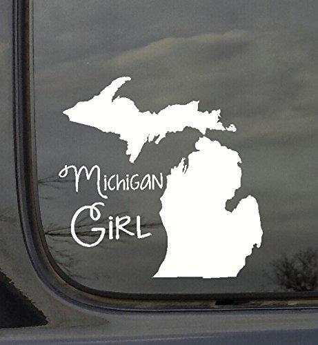 Wanddekoration Plus mehr wdpm3011State Girl Silhouette Michigan Auto-Aufkleber Vinyl, Weiß