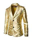 Herren Slim Fit V-Ausschnitt T-Shirt Oberteile Metallic Shiny Langarm Hemd Gold L