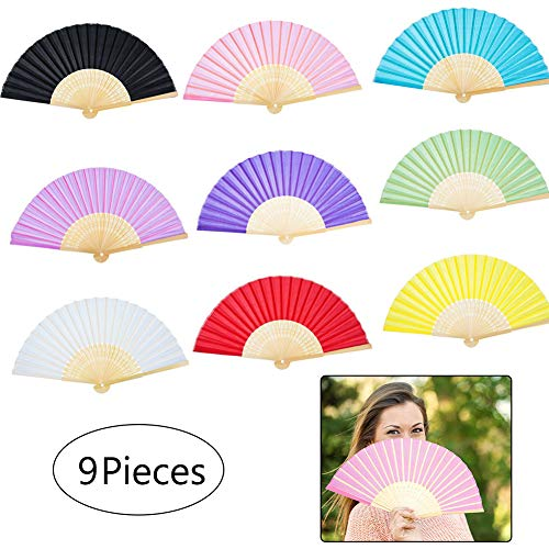 8f4a545b2 9 Colors Pack Bamboo Folding Fans, Silk Fabric Folding Hand Held Fans  Chinese/Japanese Wooden Hand Fans Handheld Folding Fans for Women Wedding  Party Gift ...