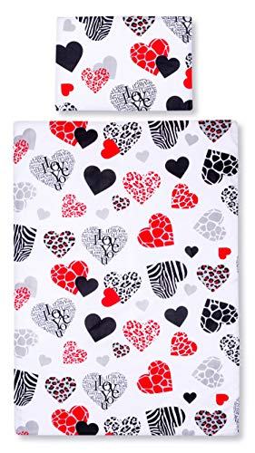Amilian® Baby Bettwäsche Design: I LOVE YOU Rot 100x135 cm (40x60 cm) Bettset Kinderbettwäsche (Rote Baby-bettwäsche)