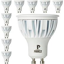 PHONECT GU10 LED Faretto 7W (75 Watt Alogeno Lampadina Equivalente) Lampadina luce Bianco Caldo 420LM 3000K, Angolo di Visione 40°, Confezione da 10 Pezzi