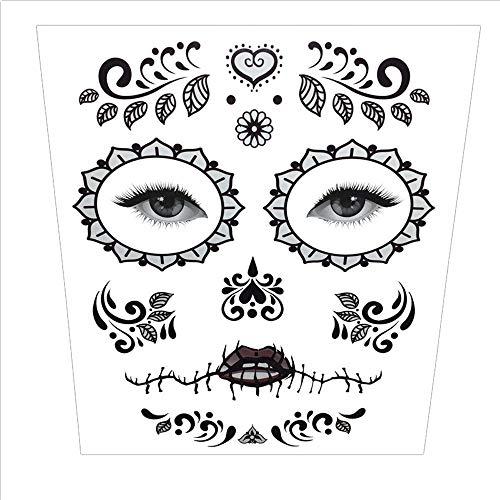 Wawer Halloween Tattoo Aufkleber temporäre Gesicht Kunst Wasserdichte Maske Sugar Schädel Tattoo Beauty Aufkleber (D)