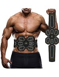 Elettronico Trainer Addominali, Waitiee EMS Stimolatore Muscolare, Inteligente Indossabile Casa Ab Toner Per gli uomini le donne Smart Body Building (Black)