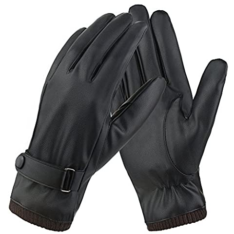 Magic Zone Mens Touchscreen Texting Winter PU Faux Leather Gloves With Long Fleece Lining Black - Wool/Cashmere Blend Cuff