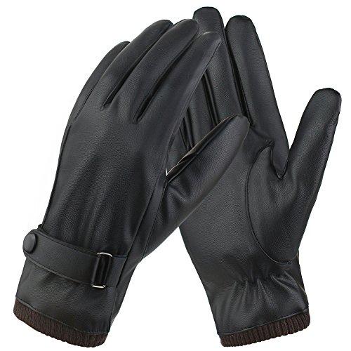 Magic zone uomo touchscreen texting invernali guanti in pelle pu con fodera in fleece lunghe nero - lana /cashmere blend polsino