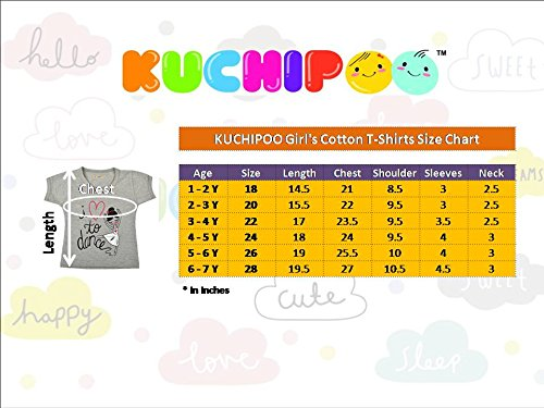 Kuchipoo Girl's T Shirt , Pack of 5 (Multicolor, KUC-TSHRT-103, 5-6 Years)