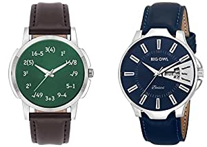 Bigowl Combo of 2 Analogue Wrist Watch for Men and Boys (2005078302-RS1-W-BRW)-(MEN04)
