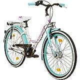 Galano 24 Zoll Mädchenrad Jugendrad Cityrad Mädchenfahrrad, Farbe:weiss/grün