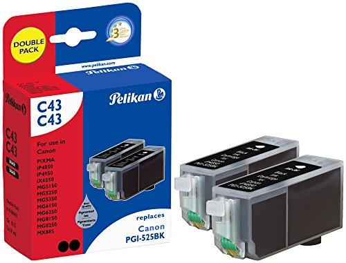 Pelikan Druckpatronen DoppelPack C43 ersetzt Canon PGI-525PGBK, 2x Schwarz (pigment)