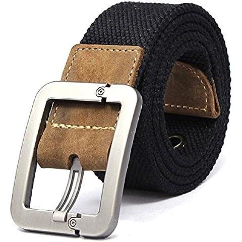 Regolabile Canvas Cintura Belt Waistband con Fibbia in metallo - Aohro All'aperto Sport Cinghia Uomo Donna Unisex in Tessuto Tela - stile 1 - nero