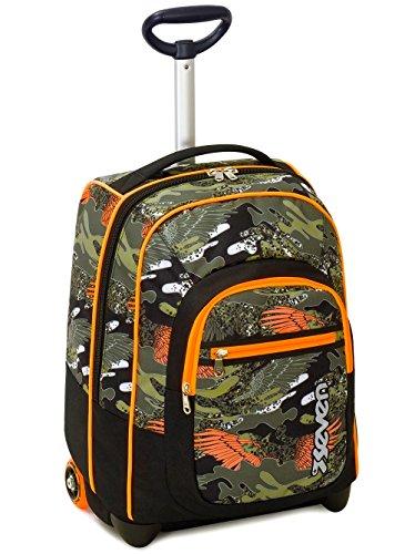 Trolley fit seven , alary , verde arancione  , 35 lt , 2in1 zaino  con spallacci a scomparsa , scuola & viaggio