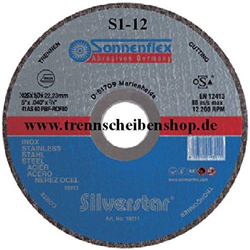 10x Trennscheibe, M03_Ø 125 x 1 mm, Inox Edelstahl Eisen sulfatfrei, Sonnenflex PremiumQualität. Picture