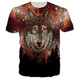 BFUSTYLE Moda para Hombre 3D Creative Print Lobo Hip Hop Style Short T-Shirts Camiseta