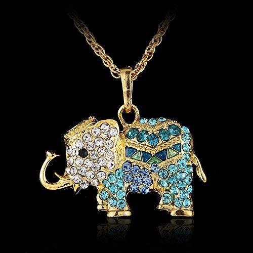 ZHUOWHAOYUN Fashion Lucky Schöne Jeweled Bohemian Long Design Vintage Strass Elefant Halskette Anhänger