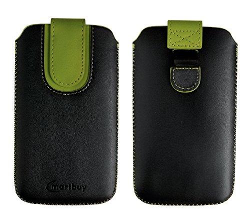 emartbuy Schwarz/Grün Premium-Pu-Leder-Slide In Case Abdeckung Tashe Hülle Sleeve Halter (Größe E) Mit Zuglaschen Mechanismus Geeignet Für Die Unten Aufgeführten Smartphones