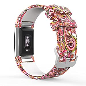 MoKo Watch Band for Fitbit Charge 2, Soft Silicone Adjustable Replacement Sport Strap Band for 2016 Fitbit Charge 2 Heart Rate with Fitness Wristband, Wrist Length 5.70″-8.26″, Daisy Totem