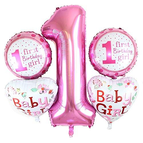 lie Anzahl Brief Ballons für Babygirls Babyboys Erste Geburtstagsfeier Perfektes Dekor ()