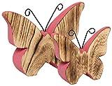 Heitmann Deco - Schmetterlinge aus Holz rosa bemalt - Deko-Figuren für Oster-Deko und Tisch-Deko - 2er Dekoset