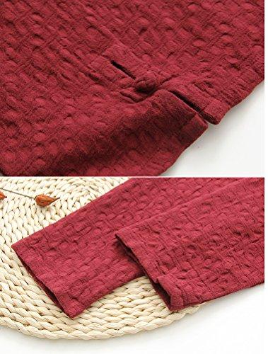 MatchLife -  Maglia a manica lunga  - Camicia  - Collo a U  - Maniche lunghe  - Donna rosso bordeaux