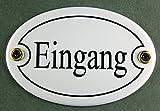 Emaille Türschild Eingang weiss oval 7x10 cm Schild Emailleschild Metallschild Blechschild