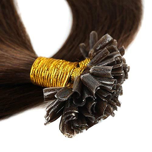 Bonding Extensions Echthaar Remy Haarverlängerung U-Tip 200 Strähnen Keratin Human Hair 100g-50cm(#4 Schokobraun)