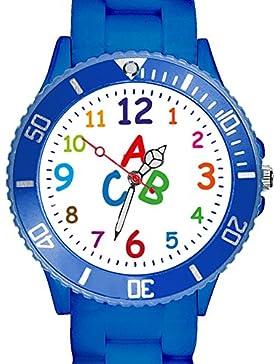 [Gesponsert]Taffstyle Kinder Armbanduhr Silikon Sportuhr Bunte Sport Uhr Kinderuhr Lernuhr Zahlen ABC Motiv Analog