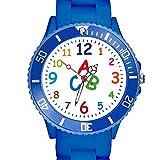 Taffstyle Kinder Armbanduhr Silikon Sportuhr Bunte Sport Uhr Kinderuhr Lernuhr Zahlen ABC Motiv Analog Blau