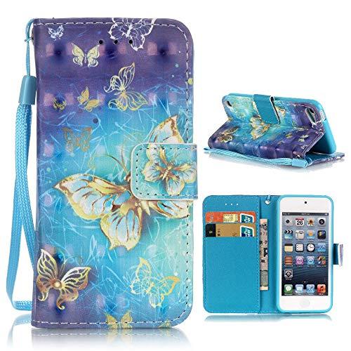 bagmaxx Apple iPod Touch 5 6 Wallet Case Motiv Muster Handschlaufe Handy Tasche Schutz Hülle Klapp Etui Innenfach 3D Effekt Gold Butterfly - Handschlaufe 5 Ipod Touch
