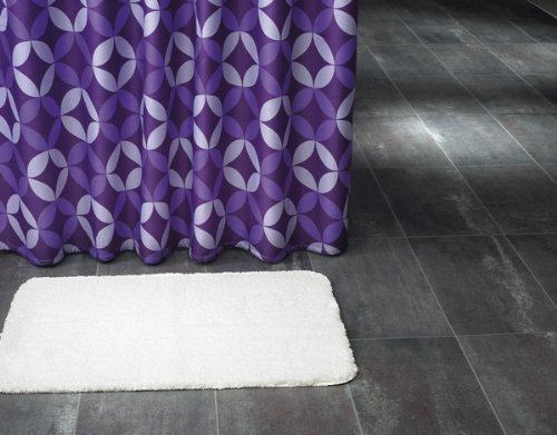 Duschvorhang Textil ~ Motiv: Diamant / Diamanten ~ Farbe: lila ~ Maße: 180 x 200 cm ~ 100 % Polyester ~ mit 12 Ösen ~ ohne Duschringe -